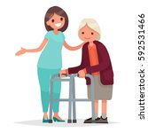 nurse helps her grandmother to... | Shutterstock .eps vector #592531466