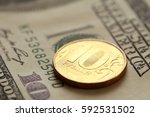 100 dollar bill and russian... | Shutterstock . vector #592531502