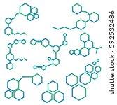 set of logo with molecule... | Shutterstock .eps vector #592532486