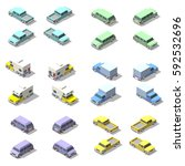 isometric icon set of pickup... | Shutterstock . vector #592532696
