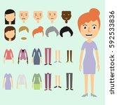 vector set of dress up... | Shutterstock .eps vector #592533836