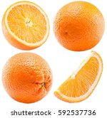 set of oranges isolated on a... | Shutterstock . vector #592537736