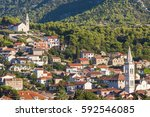 beautiful view of the town of... | Shutterstock . vector #592546085