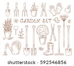 set of vintage isolated garden... | Shutterstock . vector #592546856