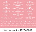 set of romantic dividers with... | Shutterstock . vector #592546862