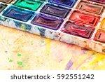 watercolor paint pallete on...   Shutterstock . vector #592551242