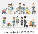 traveling people  family ... | Shutterstock .eps vector #592555292