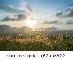 sunrise on top of mountain | Shutterstock . vector #592558922