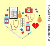 heart form with medicine icons. ... | Shutterstock .eps vector #592559348