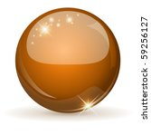 Orange Glossy Sphere Isolated...