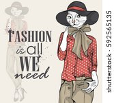 vector elegant woman with cats... | Shutterstock .eps vector #592565135