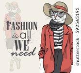 vector elegant woman with cats... | Shutterstock .eps vector #592565192