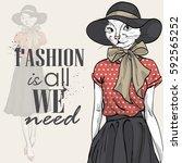 vector elegant woman with cats...   Shutterstock .eps vector #592565252