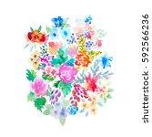 watercolor flowers illustration....   Shutterstock . vector #592566236