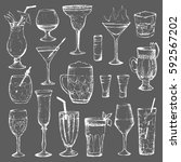 cocktails   set of 18 white... | Shutterstock .eps vector #592567202