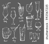 cocktails   set of hand drawn... | Shutterstock .eps vector #592567235