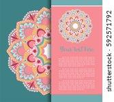 mandala vector  greeting ... | Shutterstock .eps vector #592571792