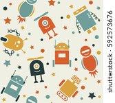 cute robots. seamless pattern... | Shutterstock .eps vector #592573676