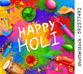 illustration of colorful happy... | Shutterstock .eps vector #592577492