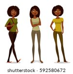 young african american girls in ... | Shutterstock .eps vector #592580672