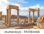 ancient column in acropolis of... | Shutterstock . vector #592581068