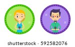 set of two hipster style... | Shutterstock .eps vector #592582076