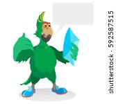 green parrot  a character in... | Shutterstock .eps vector #592587515