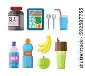 sport nutrition icon in flat... | Shutterstock .eps vector #592587755
