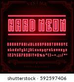 bright neon alphabet letters ... | Shutterstock .eps vector #592597406