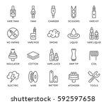 set of minimal vape vaping... | Shutterstock .eps vector #592597658