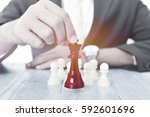 business man moving chess... | Shutterstock . vector #592601696