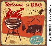 vintage bbq poster | Shutterstock .eps vector #592602242