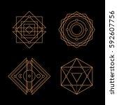 sacred geometry. alchemy ... | Shutterstock .eps vector #592607756