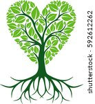 love tree with roots | Shutterstock .eps vector #592612262