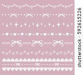 set of hand drawn heart and... | Shutterstock .eps vector #592615226