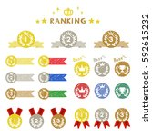 set of ranking medal  hand... | Shutterstock .eps vector #592615232
