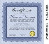 blue sample certificate.... | Shutterstock .eps vector #592615886