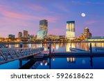 milwaukee skyline at twilight... | Shutterstock . vector #592618622