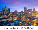 aerial view of downtown detroit ... | Shutterstock . vector #592618865