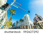 shining sun over rodeo drive ... | Shutterstock . vector #592627292