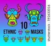 set ethnic devil masks of... | Shutterstock .eps vector #592633016