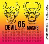 set ethnic devil masks of... | Shutterstock .eps vector #592633052