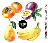 Watercolor Banana  Pear ...