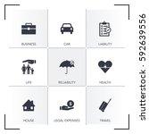 insurance icon set | Shutterstock .eps vector #592639556