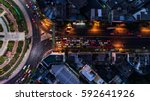 road roundabout with car lots...   Shutterstock . vector #592641926