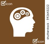 thinking icon.  silhouette of... | Shutterstock .eps vector #592643222