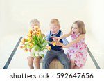 two cute toddler girls fight... | Shutterstock . vector #592647656