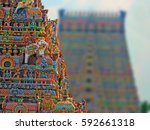 south indian temple with nice... | Shutterstock . vector #592661318