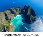 top view of tropical island... | Shutterstock . vector #592674356