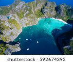 top view of tropical island... | Shutterstock . vector #592674392
